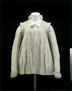 Jacket  Place of origin:  England, Britain  1600-1625 (made)  Materials and Techniques:Ivory silk and linen with a silver stripe  V & A Museum number: 188-1900  This is a rare example of an informal woman's jacket from the early 17th century. It would ha