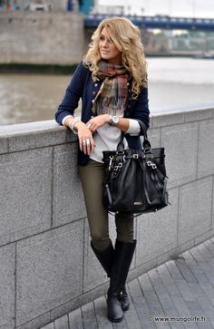 Cool tones on overcast day: Vero Moda blazer in navy, Mango blouse in white, Zara army green pants, and Tory Burch black boots