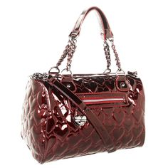 Betsey Johnson Yours Mine & Ours Satchel-Red