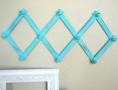 Vintage Expandable Wall Rack in Shabby Chic Coastal Blue