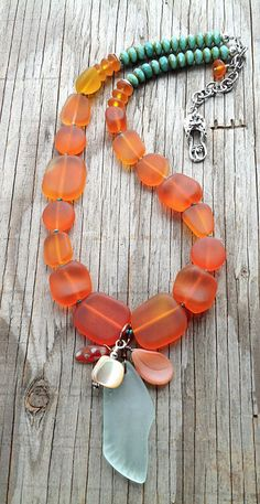 "LOVE THE COLOUR COMBO... GREAT TO USE.....Beach Vacation:  ""Orange Zest"" necklace with sea glass and Czech glass"