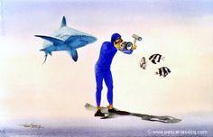 "Aug 6th: Shooting Men's trap Final  pic: ""COURTE FOCALE""  - Short focal lengh - watercolors by Pascal Lecocq, The Painter of Blue ®,8""x12""20,5 x 31cm  , 2001, lec597i, private coll. Lyon, France©www.pascal-lecocq.com."