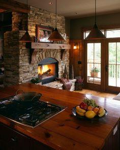 fireplace mantles, kitchen fireplace ideas, brick, rustic kitchens, kitchen photos