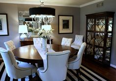Round table, Z Gallerie chandelier, china cabinet & dining room chair from Restoration Hardware