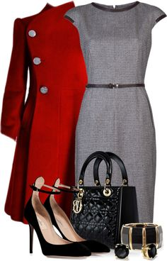 polyvor, jacket, work outfit dress, church outfits, fall styles, red coat, grey dresses, dresses work, red black