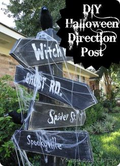DIY Halloween Decor : DIY Halloween Direction Post {Tutorial}
