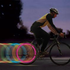 Neon bike wheel light.