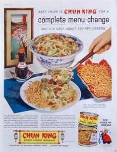 "1959 Original Advertising: Chun King Chicken Chow Mein ""Menu Magic Bazaar"""