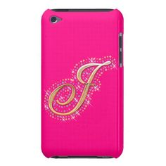 Pink iPod Touch Case with Initial J