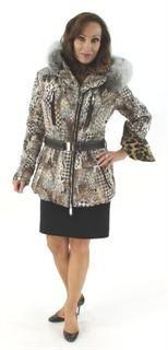 On Safari Khaki Multi Print Hooded Parka with Fox Trim and Leather Belt