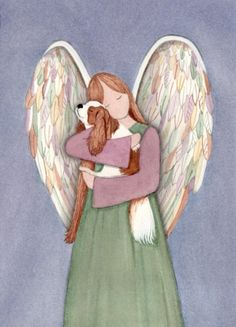 King Charles Cavalier spaniel with angel / by watercolorqueen, $12.99