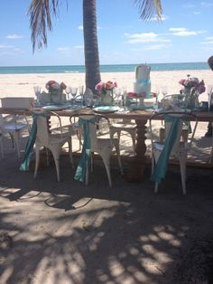 Get inspired by another view of the amazingly chic beach table setting we chose for our Fall 2014 collection shoot! #davidsbridal #beachwedding #fall2014