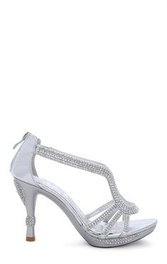 Open Toe High Heel with Small Platform and Rhinestones
