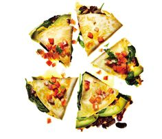 Lightened-Up Delivery Favorites: Vegetable Quesadillas With Fresh Salsa The Skinny: 277 calories per 2 wedges, 8 g fat (3 g saturated), 35 g carbs, 7 g fiber, 13 g protein #SELFmagazine