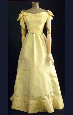 Silk taffeta ball gown, circa 1870.