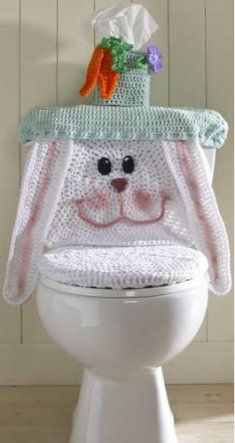 Most of us decorate for the holidays and the bathroom shouldn't be an exception! Toilet Covers allow you to add a bit of fun to an often overlooked space. Delight your family and friends with this quaint Easter Bunny. She's ready for a Sunday brunch with her rosy cheeks and beautiful bonnet. Fits most standard toilets. Don't forget to check out the companion patterns Snowman Toilet Cover, Pumpkin Toilet Cover and Santa Toilet Cover.
