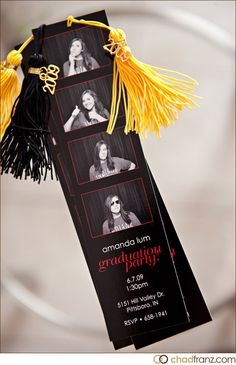 Graduation party invitations and bookmarks.