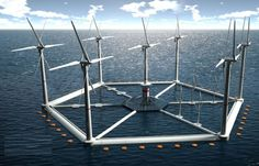 the hexicon energy concept 8: Floating platform to harvest wind energy to generate up to 40MW of renewable power.