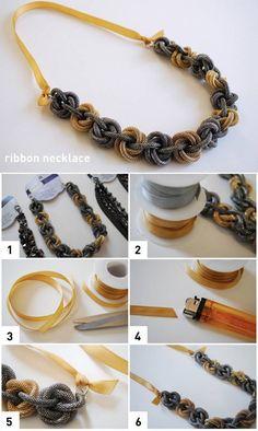 DIY Ribbon Necklace diy craft crafts craft ideas easy crafts diy ideas easy diy kids crafts diy jewelry craft jewelry craft bracelet diy necklace jewelry diy fashion crafts