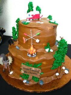 Camping Anniversary Party cake!  See more party ideas at CatchMyParty.com!
