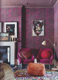 All of it. london home, domestic goddess, color palettes, chairs, colors, design art, ceilings, art installations, bohemian