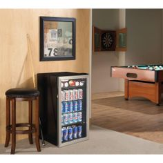 Keeps canned drinks cold and ready. Perfect for a game room, man cave or workshop.