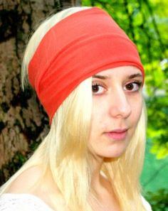 Coral bamboo knit yoga headband - wear 3 different ways