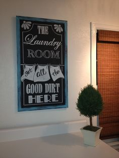 Chalkboard laundry room sign