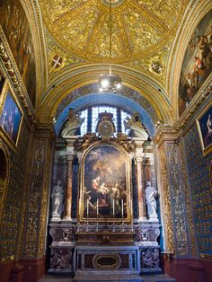 St John's Co-Cathedral - Home of the Knights (Grand Masters) of St. John, Malta.  The church is considered to be one of the finest examples of high Baroque architecture in Europe and one of the world's great cathedrals.
