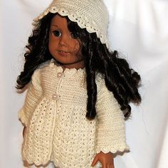PDF Crochet Pattern - American Girl Doll Clothes 31 - Jacket and Hat. $4.50, via Etsy.