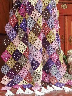 Crochet Afghans - Assorted Crochet Afghan Patterns - Floral Fiesta Afghan