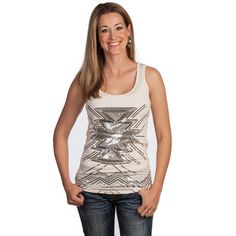 Womens Ivory Sequined Aztec Rock N Roll Cowgirl Tank Top