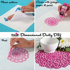 Dimensional Doiley DIY - This is cute! And if it has a rubber-like texture it might provide some non-slip grip. Maybe a piece for the cover.