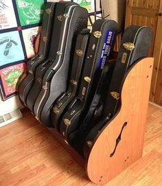 This customer stores both guitar and banjo cases in a Studio™ Case Storage Rack from http://wwwGuitarStorage.com.