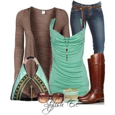 Blue tank with a brown cover up. Blue jeans. Brown boots. Sunglasses. Bracelets. Purse.