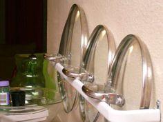 Towel rack for pan lids inside pots and pans cabinet?!?!!?