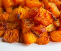 butternut squash tossed in oil and spices and then roasted in the oven.