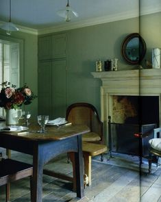 fireplace in the dinning room