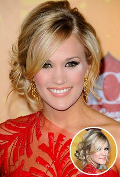 Carrie Underwood, loose side chignon. soft, glamorous, but easy updo, that highlights eyes and cheekbones