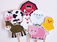 Farm Birthday Party - Set of 48 Farm Buddies Cupcake Toppers by The Birthday House. $24.00, via Etsy.