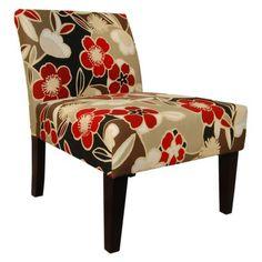 Avington Upholstered Slipper Chair - Red Floral