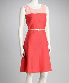 Take a look at this Corallina Belted Sleeveless Dress by Joy Mark on #zulily today!