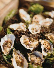 BBQ'd oysters with hogwash