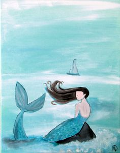 This shop has cute paintings too ... maybe I'll find something to serve as inspiration? Mermaid Wall Art, Original Acrylic Painting via Etsy