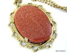 Vintage Goldstone Pendant by worn2perfection on Etsy,  #vjse2 #boebot #etsybot2 #vintage #jewelry $75.00