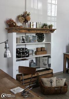 Inspiration only--add rough lumber atop a plain bookcase to create a mantle effect