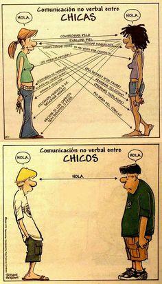 Comunicación no verbal entre chicas y chicos.