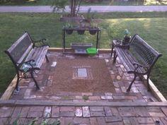 outdoor craft, patio, child crafts, children craft, red brick