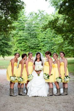 Yellow Dresses + Cowboy Boots = Perfect Country Wedding