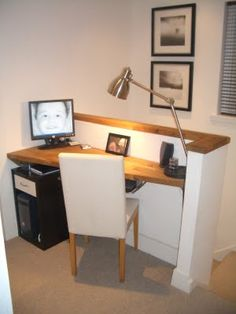 making use of an awkward nook.    IKEA office hack. For the top of stairs idea!
